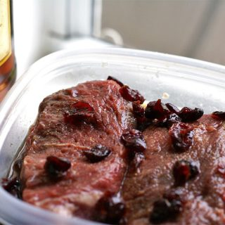 Whiskey Sirloin Steak and Cranberries