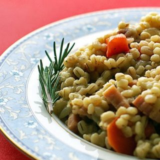 Barley Risotto with Ham, Carrots and Red Bell Peppers