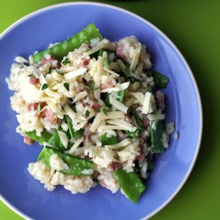 Ham Risotto with Snow Peas