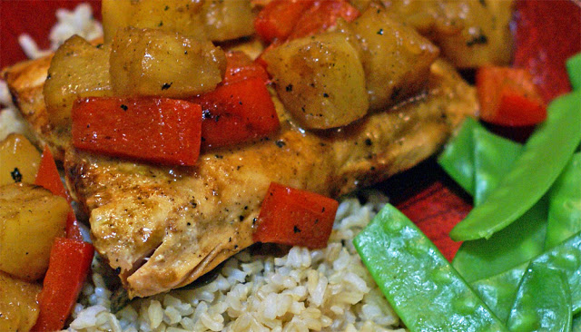 Asian-inspired teriyaki-mustard sauce with red peppers and pineapple over salmon makes a perfect weeknight meal. Ready in less than 30 minutes, it feels fancier than Monday night dinner.