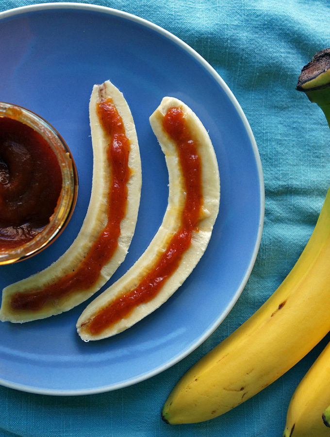 Delicious, quick and easy breakfast, afternoon snack, or dessert. Use pumpkin butter alone, or up the complexity by adding creamy peanut butter. A delicious bite of Fall in under a minute.